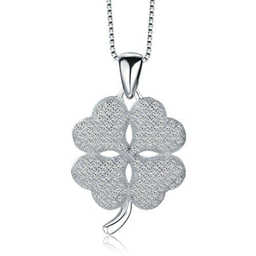 Beydodo Silver Plating Necklace(Pendant Necklaces) For Women Scrub Leaved Clover Peadant Birthday (Madonna Material Girl Fancy Dress)