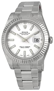 Rolex Datejust II White Dial 18k White Gold Oyster Bracelet Mens Watch 116334WSO