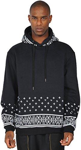 Pizoff Uomo Felpa con cappuccio Paisley Cashew Print Sweatshirt Y0261-black-XL