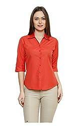 ZX3 Women's Poly Cotton Shirt(Shirt_1008_L, Orange, Large)