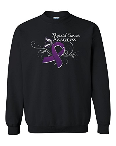 Thyroid Cancer Awareness With Purple Butterfly And Flourish-adult Sweatshirt (Thyroid Cancer Merchandise compare prices)