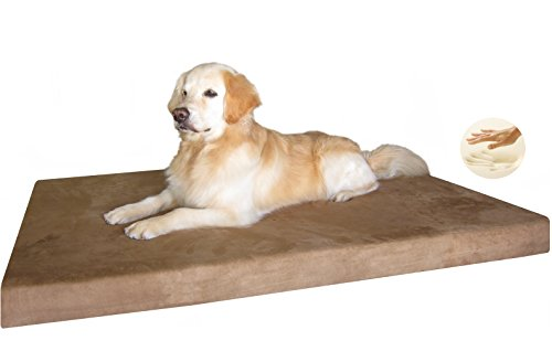"Xxl Durable Waterproof Orthopedic Memory Foam Pet Dog Bed With Rewashable Microsuede Cover + Free Bonus Case 55""X37"""