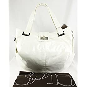 Kooba Natasha White Canvas Convertible Tote Bag / Purse