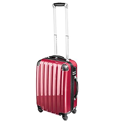 TecTake polycarbonate suitcase trolley set 4 wheels 3 super lightweight rolling hardshell suitcase travel bags luggage wine red by TecTake