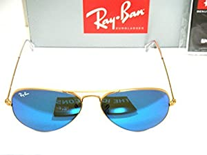 Ray-Ban 3025 Aviator RB 3025 112/17 55mm Matte Gold Frame w/ Multi Blue Mirror