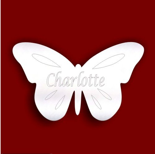 Childrens Bedroom Door plaque- 10cm Etched BUTTERFLY Shatterproof Acrylic Mirror *Personalised for FREE*