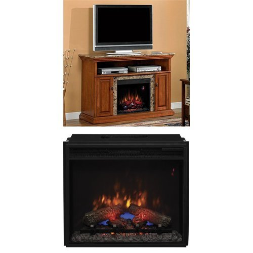 "Complete Set Brighton Media Mantel In Golden Honey With 23"" Spectrafire Plus Insert With Safer Plug"