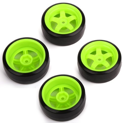 DN RC 1: 10 Racing Drift Car Smooth Tires & Green Wheel Rims Durable (Pack of 4)