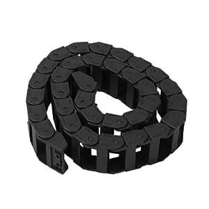 "18mm x 37mm Black Flexible Semi Enclosed Cable Drag Chain 1M 39.4"""