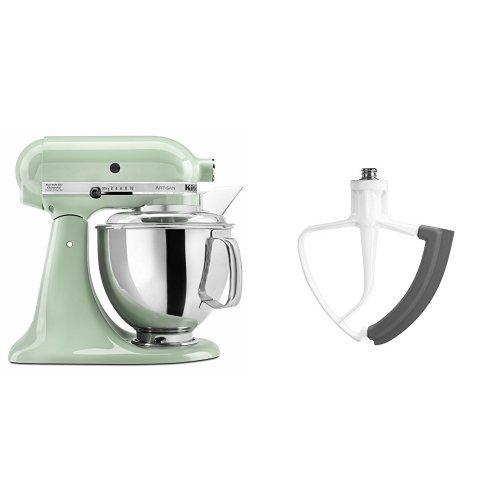KitchenAid KSM150PSPT Artisan Series 5-Qt. Stand Mixer with Pouring Shield - Pistachio and KitchenAid KFE5T Flex Edge Beater for Tilt-Head Stand Mixers Bundle (Kitchen Aid Stand Mixer Bundle compare prices)
