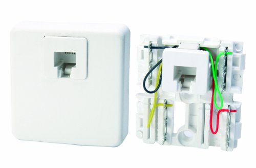 Leviton C0245-W Surface Mount Phone Jack and Terminal Block with Cover, White