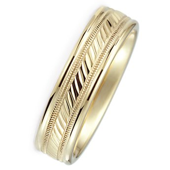 6.0 mm 10Kt Yellow Gold Wedding Ring with Polished Finish and Center Design. Flat Comfort Fit Style SV59-306Y6, , Finger Size 8