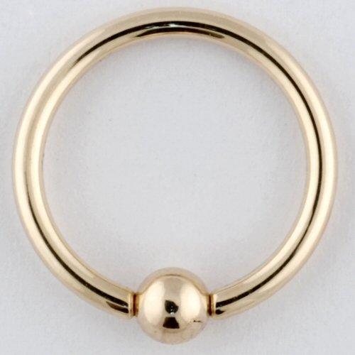 One 14K Gold Captive Bead Ring: 18g 1/4
