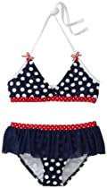 Love U Lots Girls 7-16 Dot Bikini, Navy/White, 12/14