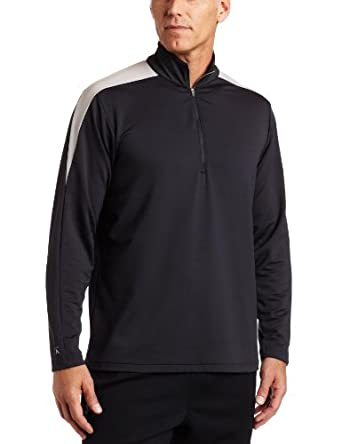 Antigua Men's Succeed 1/4 Zip Pullover Long Sleeve Pullover, Smoke/Silver, X-Large