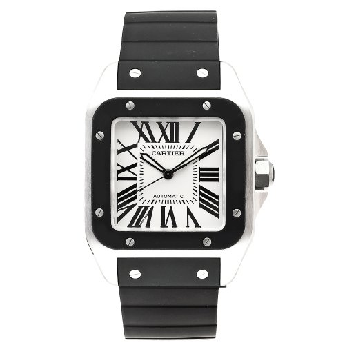Cartier Men's W20121U2 Santos 100 Automatic Rubber Strap Watch