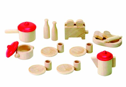 Imagen 1 de Beeboo 31520 - Juego de vajilla de madera para casa de muñecas (23 piezas)