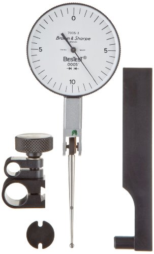 "Brown & Sharpe 599-7035-3 Dial Test Indicator Set, Extra Long Contact Point, M1.4X0.3 Thread, White Dial, 0-10-0 Reading, 1.5"" Dial Dia., 0-0.02"" Range, 0.0005"" Graduation, +/-0.0005"" Accuracy back-589348"