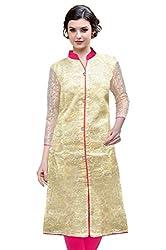 Trendz Kurti With Brasso Fabric(TZK_Chikoo_Brasso)