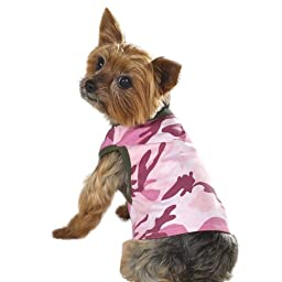 Casual Canine 9-Inch Cotton Camo Dog Tank, Small, Pink/Chive