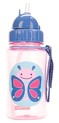 Skip Hop Baby Zoo Little Kid and Toddler Feeding Travel-To-Go Flip Top Straw Bottle, 12 oz, Multi Blossom Butterfly