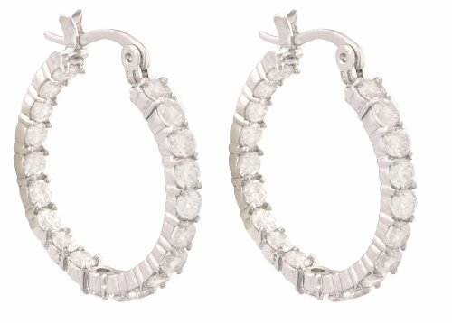 JanKuo Hoops Earrings with CZ Cubic Zirconia Held in a Four-Prong Basket Setting with Gift Box
