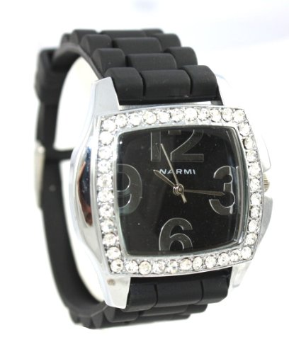 Watches By Ks Charming Designs Blingy Narmi Unique Square Faced Black Ceramic Look Silicone Fashion Watch With Crystal Accents Large Numbers On Face