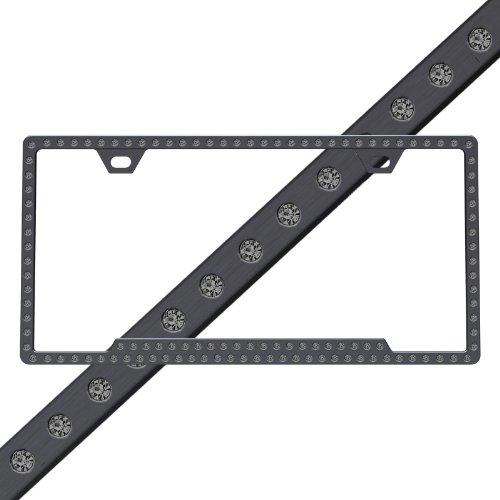 Black Chrome Frame w/ Black Crystals Swarovski Car Truck SUV Slimline License Plate Frame