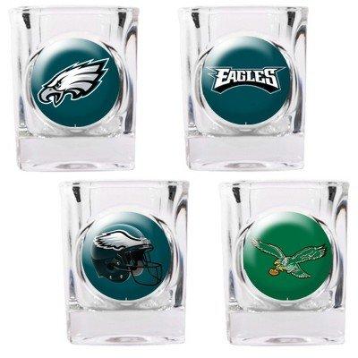 NFL Philadelphia Eagles Four Piece Square Shot Glass Set (Individual Logos)