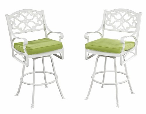 Home Styles 5552-89C Biscayne Bistro Stool with Cushion, White Finish image
