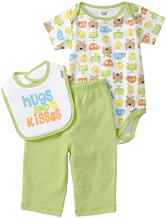 Lamaze Unisex-Baby Newborn 3 Piece Interlock Bodysuit Set, Green/White, 0-3 Months