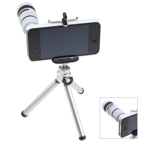 8X Optical Zoom Telescope Lens With Mini Tripod And Universal Holder For Apple Iphone 4 4G White