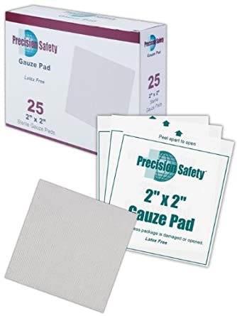 "Magid GZPD2X2 White Cotton 4-Ply Precision Safety Sterile Latex-Free Woven Gauze Pad, 2"" Length x 2"" Width (Case of 3600)"