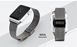 Coteetci Stainless Steel Milanese Strap Metal Band For Apple Watch 42mm - Black