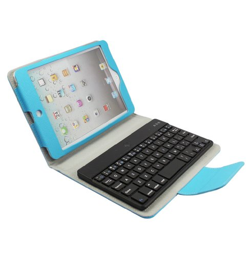 Fome New Wireless Removable Detachable Bluetooth Keyboard Folio Folding Pu Leather Case Magnetic Cover With Small Stand For Ipad Mini Light Blue + Fome Gift