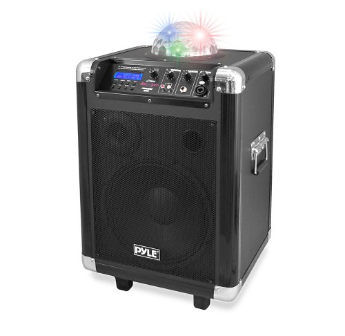 Pyle Pcmx280B Disco Jam 400 Watt Bluetooth 10-Inch Portable Pa Speaker System, Built-In Rechargeable Battery, Headset And Mic