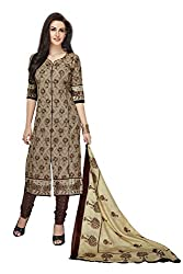 PShopee Brown Printed Unstitched Cotton Salwar Suit Dress Material