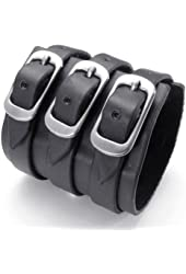 KONOV Jewelry Wide Genuine Black Leather Mens Bangle Cuff Bracelet