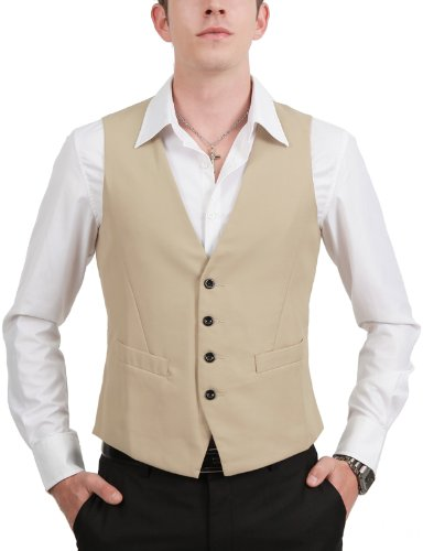 9Xis Mens Casual Slim Fit Button Vest BEIGE XL (9MV001)