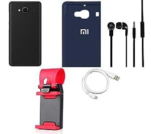 NIROSHA Cover Case Headphone USB Cable Mobile Holder for Xiaomi Redmi 2s - Combo