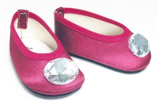 "Doll Shoes in Deep Pink fit for 18"" American Girl Dolls, Jeweled Berry Satin Ballet Flats by Sophia's - 1"