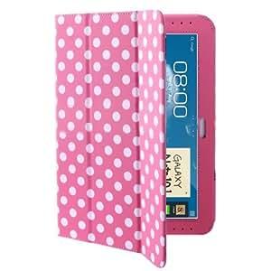 iZKA Lederhülle für Samsung Galaxy Note 10.1 N8000/ N8010 (mit Klappe/ Ständer, inkl. ProPen-Stylus) Rosa mit Punkten