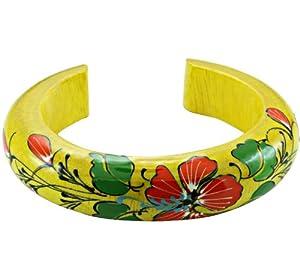 Chic-Net wood bangle yellow red green flower bangle bracelet wood bracelet wood ladies jewelry painted