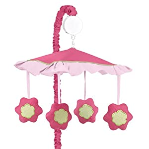 Amazon.com : Pink and Green Flower Collection Musical Crib ...