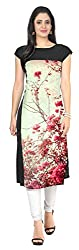 Clickedia Girl's & Women's American Crepe Semi Stitched Cream Flower Print Kurti
