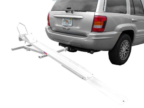 Hitch Mount Tilt Rack Motorcycle Carrier and Scooter Hauler 600 lbs Weight Capacity Tilt and Roll On