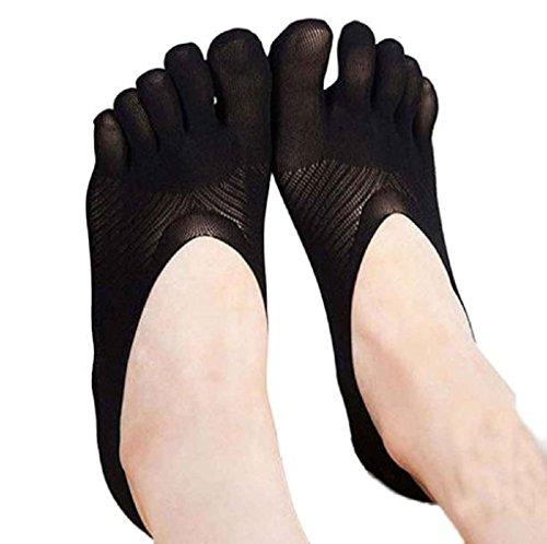 Calze Familizo Adatti a nuovo arrivo Cinque dita dei calzino pantofole invisibilità per Solid colore dei calzini cinque dita calzini (Nero)