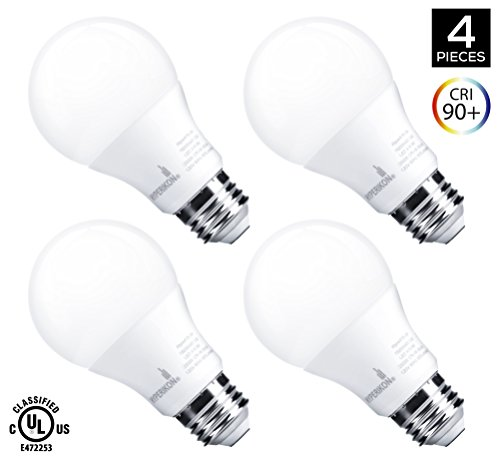 [60W Equivalent] Hyperikon 9W LED A19 – E26 Dimmable Bulb, 3000K (Soft White Glow), CRI90+, 800 Lumens, Medium Screw Base, 340° Omnidirectional, UL-Listed – (Pack of 4)