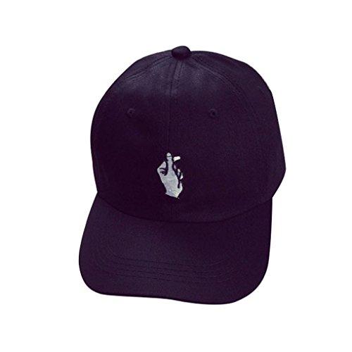 Internet Unisex Cappellini da baseball Regolabile Hip Hop Finger Cappelli Sun (Nero)