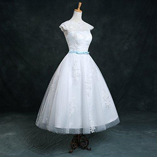 Honey Qiao Vintage Spots 1960S White Wedding Dresses Tea Length Bridal Gowns 2